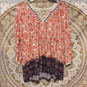 flowy long sleeve floral shirt
